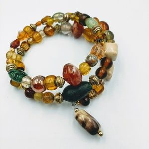 Jewelry - Multi Color Earth Tone Beaded Wrap Bracelet Boho